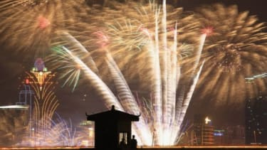 Fireworks explode to celebrate the Mid-Autumn Moon Festival on September 12, 2011 in Macau, China.