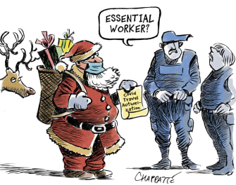 Editorial Cartoon U.S. Santa Claus Christmas COVID