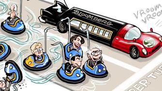 Political Cartoon U.S. Ford v Ferrari Bernie Sanders Michael Bloomberg democratic primaries bumper cars race limo
