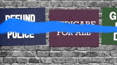 Spraypainted signs.