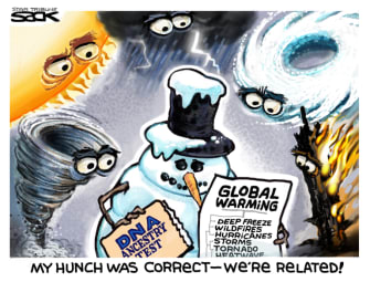 Editorial Cartoon World climate change disasters