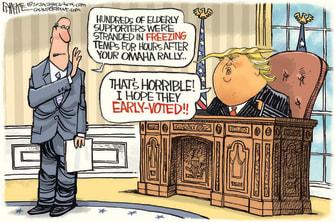 Political Cartoon U.S. Trump rally elderly cold
