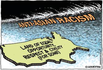 Editorial Cartoon U.S. anti Asian racism
