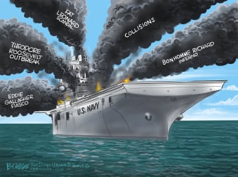 Editorial Cartoon U.S. Navy scandals fire