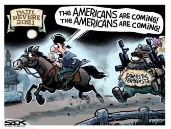 Political Cartoon U.S. paul revere domestic terrorism