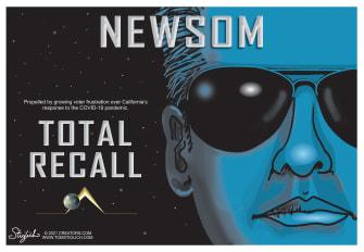 Political Cartoon U.S. gavin newsom total recall