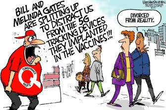 Editorial Cartoon U.S. bill melinda gates divorce qanon