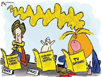 Political Cartoon U.S. debriefing coronavirus cases deaths Trump rages over TV ratings