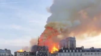 Notre Dame collapsing.