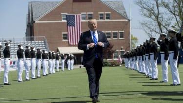 President Trump at the Coast Guard Academy.