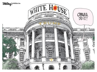 Political Cartoon U.S. Trump Obama coronavirus scapegoat
