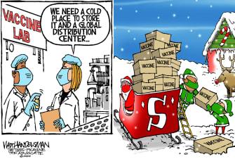 Editorial Cartoon U.S. COVID vaccine Santa Claus north pole