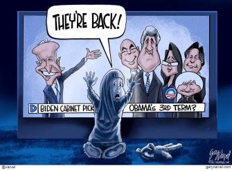 Political Cartoon U.S. Biden cabinet Poltergeist