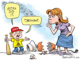 Editorial Cartoon U.S. antifa qanon