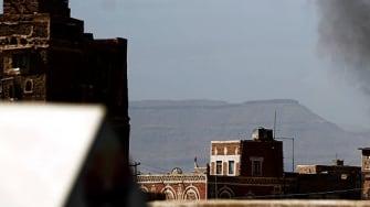 Smoke billows after a Saudi coalition strike in Yemen