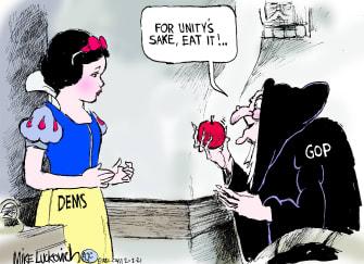 Political Cartoon U.S. snow white democrats gop unity