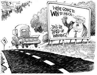 Political Cartoon U.S. Trump tired of winning