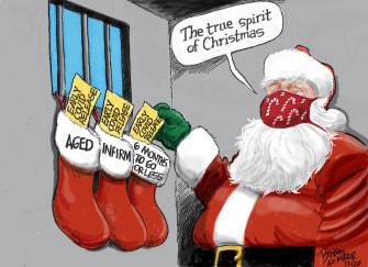 Editorial Cartoon U.S. Santa Claus Christmas COVID prison