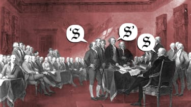 Founding fathers argue over grammar.