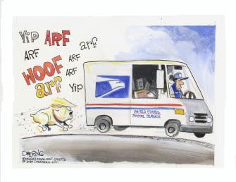Political Cartoon U.S. Trump USPS 2020 mail in voting