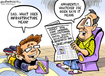 Political Cartoon U.S. biden infrastructure