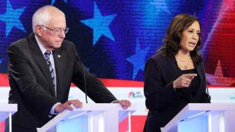 Kamala Harris and Bernie Sanders.