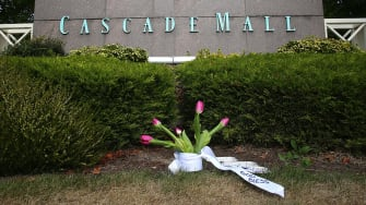 An impromptu memorial outside Cascade Mall in Washington State, where five people were killed in a mass shooting