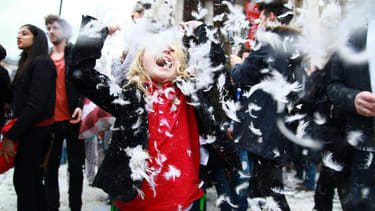 Photos: Revelers celebrate 'International Pillow Fight Day'