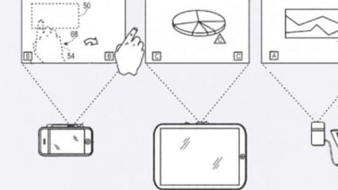 In the detailed patent drawing filed by Apple Inc., the iPhone and iPad are turned into projectors using a pico lens.