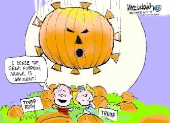Political Cartoon U.S. Trump Peanuts rally Great Pumpkin