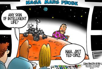 Political Cartoon U.S. ted cruz mars perseverance cancun texas
