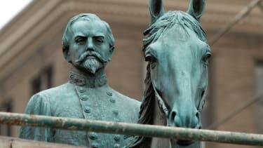 A monument to John Hunt Morgan, a Confederate General during the Civil War.