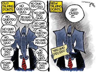 Political Cartoon U.S. Trump Mick Mulvaney No Quid Pro Quo