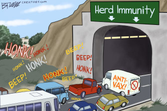 Editorial Cartoon U.S. anti vaccine covid