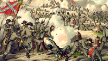 A digitized Civil War scene.