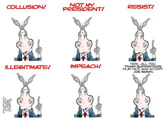 Political Cartoon U.S. Joe Biden Trump 2020 Election
