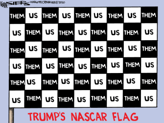 Political Cartoon U.S. Trump NASCAR race Bubba Watson