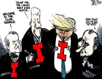 Political Cartoon U.S. Trump Impeached Presidents Club