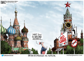 Political Cartoon U.S. biden address russia