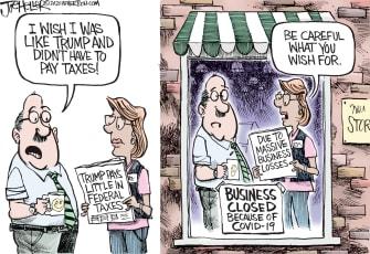 Editorial Cartoon U.S. COVID small business Trump taxes