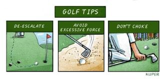 Political Cartoon U.S. Trump golf protests