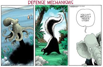 Political Cartoon U.S. trump impeachment gop defense