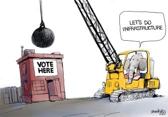 Political Cartoon U.S. gop voter suppression