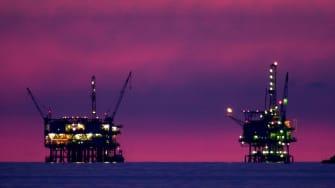 Oil and gas platforms near Santa Barbara, California.