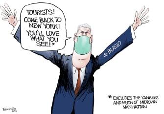 Editorial Cartoon U.S. de blasio nyc tourism yankees