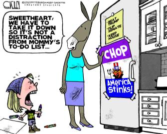 Political Cartoon U.S. democrats Seattle chop