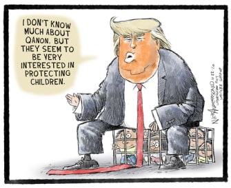Political Cartoon U.S. Trump qanon children border cages