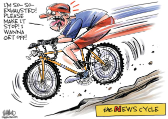 Editorial Cartoon U.S. news cycle Trump coronavirus racism
