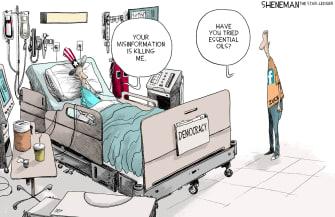 Political Cartoon U.S. Facebook misinformation Zuckerberg