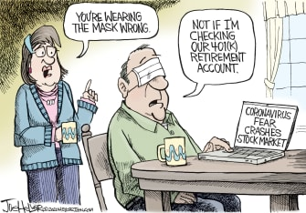 Editorial Cartoon U.S. DOW dipped coronavirus 401 K retirement plans